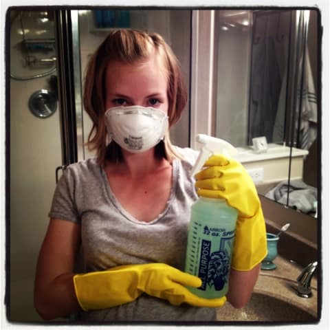 mold removal n95 mask and gloves